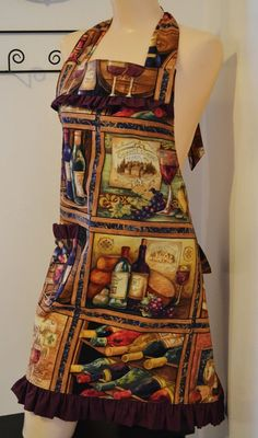 Grapes and Wine Bottle Apron