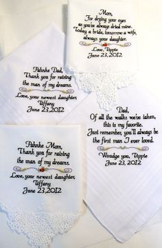 Personalized SET of 4 WEDDING HANKIE'S Mother & Father of the Bride In-Law Stepmother Sister Gifts Handkerchief By Canyon Embroidery. $79.00, via Etsy.