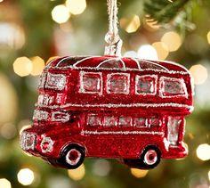 Double Decker Bus Ornament   Pottery Barn