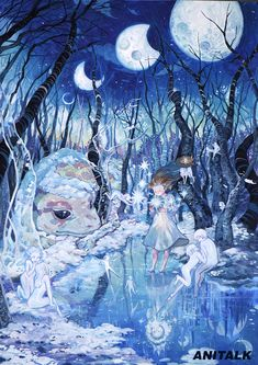 애니톡 만화애니메이션 학원 - 상황표현 Detail Art, Gouache, Moonlight, Illustrators, Fantasy Art, Animation, Colours, Watercolor, Cartoon