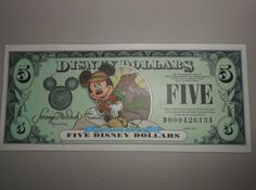 2001 D $5 Disney Dollar Mickey Mouse Dollars Very Very Rare New D00042613A