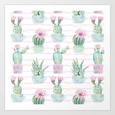 Simply Echeveria Cactus on Desert Rose Pink Wavy Lines Art Print