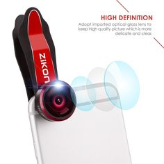 ZiKON 3 in 1 Cell Phone Camera Lens Bundle with 198 Degree Fisheye Lens, 15X Macro Lens, 0.63X Wide Angle Lens and Accessories for Smart Phones - Red