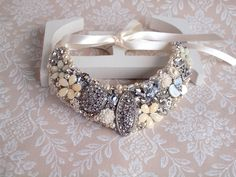 Bridal Bib Necklace Classic Silver and White by gadegaarddesign