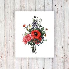 This lovely vintage floral design works perfectly as a temporary tattoo. I love the red poppy! .........................................................................................................