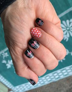 Check out my fun and quirky mani from one of the Disney Collection by Jamberry wraps called 'Mickey's Girl'! Combined here with a couple retired wraps Poppy & White Polka and Black and White Skinny. #DisneyCollectionbyJamberry  #disney #jamberry