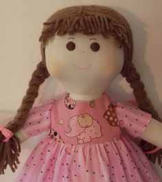 Annie Loves Pink Elephants cloth doll by mothergoosedolls
