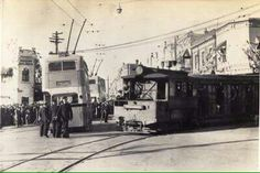 A new Trolley bus and the last tram in 1937 at Railway Parade, Kogarah in southern Sydney. Australian Architecture, Light Rail, Sense Of Place, Buses, Wonderful Places, Old Photos, Sydney, Past, Places To Visit