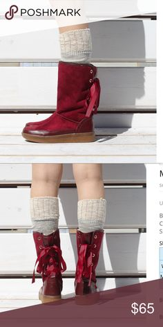 Long winter boots. Long winter booties with lace in the back, this listing is for burgundy color. Shoes Winter & Rain Boots