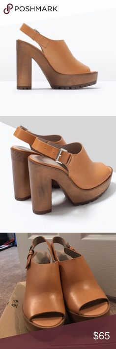 Zara Thick Authentic Leather Wooden Open Sandal Gently worn (once) - leather / natural / thick high heel sandals // shipped with Zara box Zara Shoes Sandals