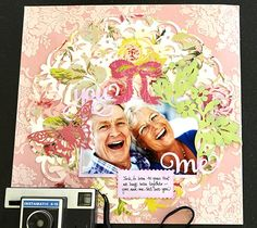 You and Me scrapbook page layout by Anna Griffin. Make It Now with the Cricut Explore machine in Cricut Design Space.