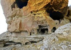 Centuries old Manazan Cave | dwelling, cave architecture, cave storage, cliffside buildings, cliff ...