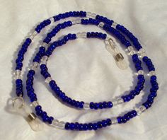 Cobalt Blue Beaded Eyeglass Chain by DesignsByDeb18 on Etsy, $10.00