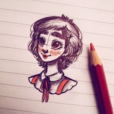 Happy class sketching ♡ #happy #class #sketch #drawing #doodle #pen #red #pencil #blush #pretty #shorthair #girl #girly #character