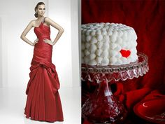 Red Wedding Gown and Cake for Valentine's Day Wedding   Keywords: #valentinesdayweddings #jevelweddingplanning Follow Us: www.jevelweddingplanning.com  www.facebook.com/jevelweddingplanning/