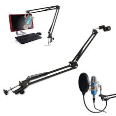 Clock Kit Temperature Light Control Version DIY 4 Digit LED Electronic. Mic Microphone Suspension Boom Scissor Arm Stand Holder For Studio Broadcast  Description:  The professional recording microphone stand you're looking at is a convenient and useful invention widely used in stores, families, stages, studios, broadcasting and TV stations, etc. Made of durable metal and plastic, our professional recording microphone stand delivers long-time performance and great craftsmanship. Moreover, the…