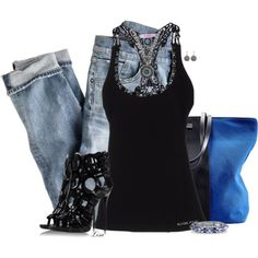 Black Top n Blue Jeans, created by lmm2nd on Polyvore