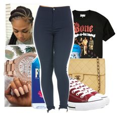"""""""Bone Thugs N Harmony"""" by trapsoul4life ❤ liked on Polyvore featuring Urban Outfitters, Sonix, Chanel, Michael Kors and Converse"""