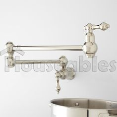 "21"" Classic Retractable Double Joint Spout Wall Mount Pot Filler Polished Nickel #Classic 149"