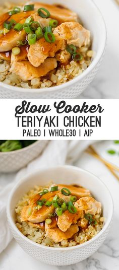 This slow cooker chicken teriyaki makes dinner easy! Serve it with some veggie sides and you have a flavorful meal. Its made without soy sauce and is paleo AIP and compliant. - Slow Cooker - Ideas of Slow Cooker Crock Pot Recipes, Paleo Crockpot Recipes, Cooking Recipes, Diet Recipes, Recipies, Healthy Recipes, Paleo Menu, Paleo Dinner, Paleo Cookbook