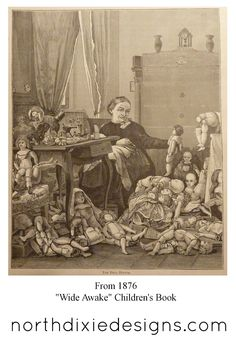 Northdixie Designs - original graphic of a doll repair shop from 1876