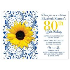 Royal blue and yellow sunflower flower and abstract floral pattern 80th birthday invitation. Perfect for a woman who loves sunflowers. Milestone year can be changed to whatever year you are celebrating.