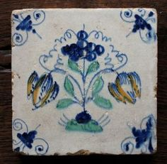 An Authentic Antique Delft Delftware Tile Carreau With A 2 Tulips Tulipmania. photo