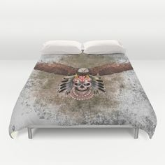 indian native Flaying Eagle sugar Skull  DUVET COVER #duvetcover #cover #thedayofthedead #halloween #indianchief #chief #owls #sugarskull #skull #pattern #owl #nativeamerican #native #indian #diadelosmuertos #muertes #mexicanart #dayofdead #mexicoskull #mexicosugarskull