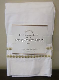 NIP Pottery Barn Honeycomb PEARL EMBROIDERED Pillow Sham EURO