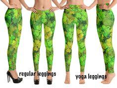 Grunged Florals on Green Kids Leggings