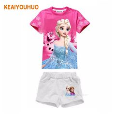 Baby girl Elsa Anna t shirt kids clothing children clothes toddler tops t-shirt cute Party Short sleeve 2015 kinder robe enfant Kids Outfits Girls, Toddler Outfits, Girl Outfits, Frozen Outfits, Disney Outfits, Frozen Clothes, Toddler Girl, Baby Kids, Summer Baby