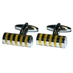 Personalised Five Stripes Cufflinks with Engraved Case - Various Colours   from Personalised Gifts Shop - ONLY £19.95