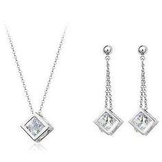 STAR Cube inside Zircon Crystals Jewelry Set