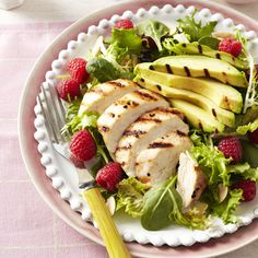 Chicken and Raspberry Salad:  4 servings; 300 calories, 14 g fat, 67 mg cholesterol, 19 g carbs, 8 g fiber, 27 g protein per serving