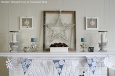Like the pine cones & blue candles