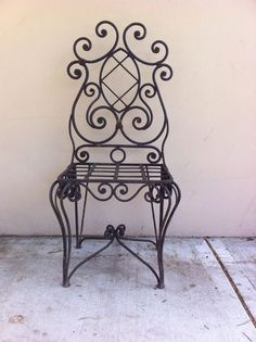 Rusty Wrought Iron Chair garden chair - unique - french provincial - rusty charm
