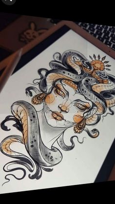 Perfect illustration drawing of Medusa motive done by Kati Berinkey Medusa Drawing, Human Face Drawing, Medusa Art, Snake Drawing, Medusa Tattoo, Drawing Faces, Drawing Drawing, Medusa Painting, Medusa Gorgon