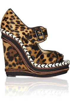 Christian Louboutin | Highlander 140 leopard-print calf hair wedge sandals