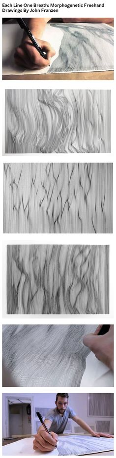 Artist John Franzen creates textured drawings reminiscent of wrinkled fabric, or waves of water, by drawing tediously placed rows of lines with black ink. 'Each Line One Breath': Morphogenetic Freehand Drawings By John Franzen. Click through for videos.: