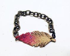 Leather Feather Bracelet $20 #etsy