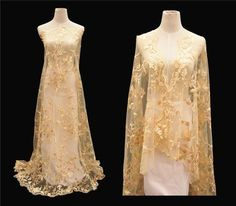 """51"""" Gold Beaded Wedding Gown Lace Fabric Embroidery Corded Bridal Dress 0.5 M  