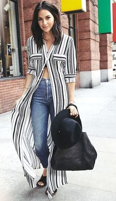 Le Fashion Black And White Striped Maxi Shirt Dress Fall Street Style Inspo Look Fashion, Womens Fashion, Fashion Tips, Fashion Brands, Fashion Black, Fashion Clothes, Fashion Shoes, Fashion Outfits, Black And White Outfit