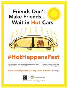 Popular #HeatStroke awareness graphic now available as a FREE POSTER. Download here: http://www.preventivevet.com/hot-happens-fast-poster. Help spread the word that #HotHappensFast #PetSafety (available in both Fahrenheit & Celsius)
