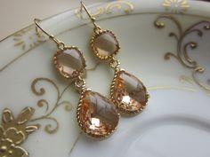 Blush Champagne Earrings Peach Gold Earrings Teardrop Glass Two Tier - Bridesmaid Earrings Wedding Earrings Wedding Jewelry. $39.00, via Etsy.