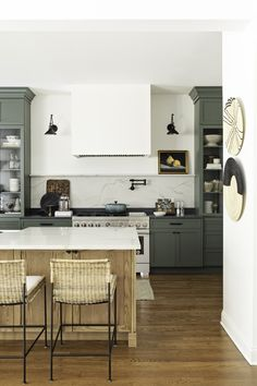 Kitchen Nook, Kitchen Reno, Ashley Martin, Hand Chair, Family Room, Home And Family, Green Cabinets, Open Layout, Dining Nook