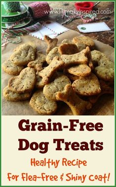 Make your dog these homemade grain free dog treats! A healthy recipe with nourishing ingredients to keep your best friend flea free & having a shiny coat!