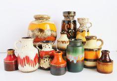 "Midcentury Fat Lava German Pottery Vase Jug (4"") / Orange Molton Lava Brown Charcoal Glazes / Scheurich, West Germany, Midcentury 1960s"