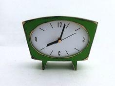 FREE SHIPPING Desk Clock Green Wood Clock by ClockWoodStudio