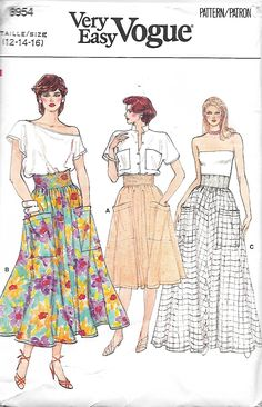 Vogue 8954 Misses Flared Skirt With Wide Waistband Sewing Pattern, Three Lengths, Size 12-14-16, UNCUT by DawnsDesignBoutique on Etsy