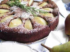čokoládový koláč s hruškami French Toast, Breakfast, Desserts, Food, Morning Coffee, Tailgate Desserts, Deserts, Eten, Postres